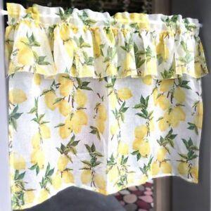 Short Curtains Lemon Pinted Curtains Kitchen Accessories Door Window Decorations