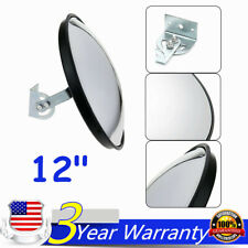 """12"""" Wide Angle Convex PC Mirror w/ Bracket Wall Mount Corner Blind Spot Security"""
