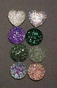 8 x 12 mm 'Single MIXED Druzy' Flat backed Resin Cabochons      (m466)