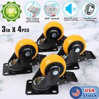 "USA 4 Pack 3"" Caster Wheels Swivel Plate Total Lock Brake Yellow Polyurethane PU"