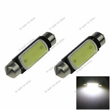 2X White 39MM 1 COB 3W Festoon Dome Map LED Light Lamp Roof Car Bulb DC 12V I227