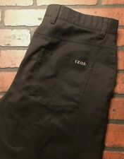 IZOD Golf Flat Front Athletic Slim Fit Pants Men's Black Size 33 x 32