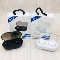 Auricolari Bluetooth 5.0 TWS EDR Wireless Cuffie TWS-02 sport bianco nero MIC.
