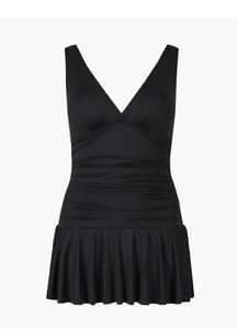 M & S COLLECTION BLACK SECRET SLIMMING  PADDED PLUNGE SWIMSUIT