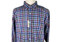 Men's Dress Shirt Size XL Slim Fit Blue Red Plaid Daniel Cremieux Signature New