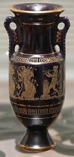 "7.25"" Adis 24 Carat Gold Leaf Black Greek Key Urn Vase Handmade In Greece"