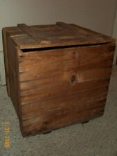 ANTIQUE wood SHIPPING CRATE Sequin Dorman German FURNITURE Ottoman Chest Vintage