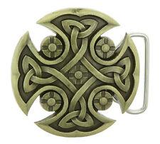 Celtic Knot Iron Cross Bronze Plated Belt Buckle