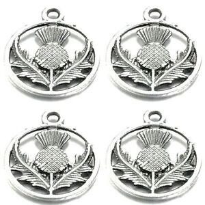 Thistle Charms Tibetan Silver Pendant Pack of 20