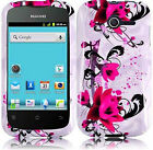 For Huawei Ascend Y H866C HARD Case Snap On Phone Cover White Purple Flowers