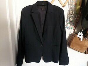 Ann Taylor Navy Blue Single Button Blazer Suit Jacket Size 14