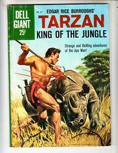 """Dell Giant 37 VG+ (4.5) """"Tarzan, King of the Jungle!"""" Painted cover! Marsh art!"""