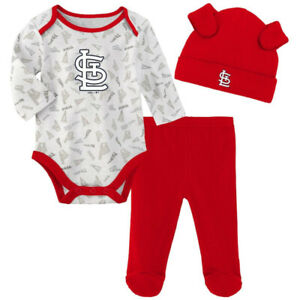 Infant St Louis Cardinals White/Red Greatest Lil Player Bodysuit Pant & Hat NWT