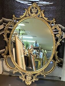 "Vintage French style carved wooden wall Oval mirror 45.5""x 32"""