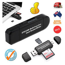 Micro USB OTG to USB 2.0 Adapter SD/Micro SD Card Reader For Smart Phones PC AU