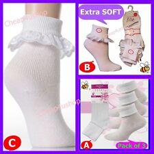 ※119※3 Pair =Girls(12-3, 4-6)COMFORT SCHOOL DAILY WHITE Sock