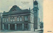 C-1940s BUCYRUS OHIO Fire Department Owens Bros postcard 2407 Green Tint