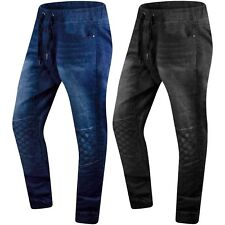 New Men Denim Quilted Jogger Jeans Elastic Waist Black Blue Sizes S-2XL