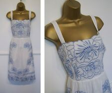 MONSOON stunning white/blue embroidery/cut out detail cotton summer dress UK 18