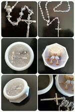 Communion Clear Glass Round ROSARY BEADS With Chalice Centrepiece -Boxed