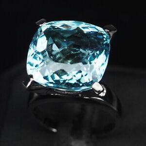 AQUAMARINE AQUA BLUE ANTIQUE 17.2CT.SAPPHIRE 925 STERLING SILVER BLACK RING SZ 7