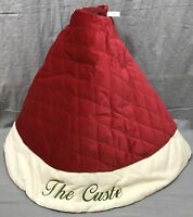 Pottery Barn Red With Ivory Cuff Velvet Christmas Tree Skirt Small *Monogram