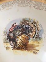 """Vtg Sabin 22k Rim Crest O Gold Thanksgiving Turkey Dinner 13.5"""" x 10"""" Platter"""