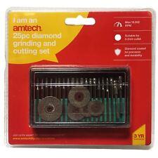 "Amtech 25 Piece Diamond Rotary Polishing Kit 1/8"" 3.1mm Mandrel E1855"