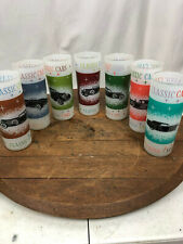 Vintage Set of 7 Classic Cars Tall Frosted Tom Collins Cocktail Glasses