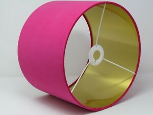 Lampshade Hot Pink Velvet Drum Lampshade Brushed Gold Lining