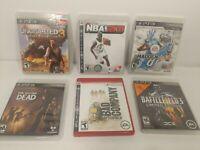 PS3 Lot 6 Games Uncharted 3, NBA 2K8, Madden13, Battlefield 3, Bad company