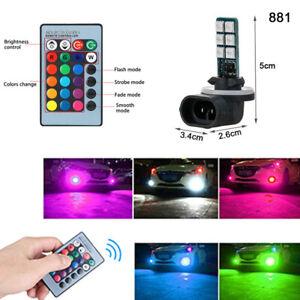 2Pcs RGB Multi-Color 881 5050 LED Bulb Car Headlight Fog Light + Remote Control