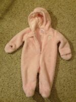 Carter's Just One You Owl Logo Pink Fleece Youth Girl's Furry Pajamas 6 Months