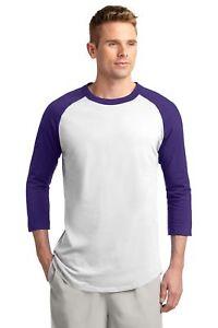 Sport-Tek Mens 100% Cotton Raglan 3/4 Sleeve Colorblock Baseball T-Shirt M-T200