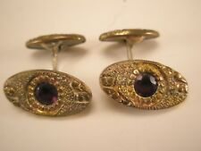 Red Stone & Gold Tone Vintage Victorian Cuff Links
