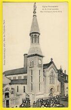 cpa Rare 75 - PARIS XXe Rue PELLEPORT ÉGLISE Paroissiale Notre Dame de LOURDES