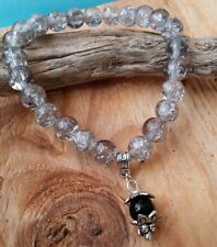 "QUARTZ & Onyx Beaded Healing Charm Bracelet Kids Men Woman 6-9"" Holiday Gift"