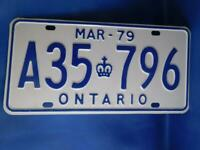 ONTARIO LICENSE PLATE 1979 MARCH A 35 796 VINTAGE CANADA  SHOP GARAGE SIGN