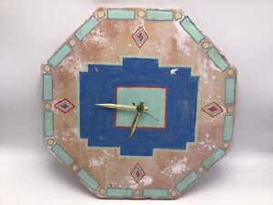 """Mexican Pottery Wall Clock Aztec Hand Painted Terra Cotta Octagon 11.5"""" Mexico"""