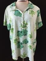 Palm Harbour knit top Size 2X plus green Hawaiian floral cap sleeve collar polo