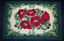 """Vintage Hooked Wool Rug Multicolored Flowers 38-1/2"""" x 25"""""""