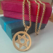 24'' 3mm Stainless Steel Religious star of David Pendant Rolo Necklace Gold Tone