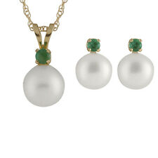 """7-7½mm round freshwater pearl pendant/17"""" chain & matching stud earring RB-14-7E"""