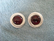 "SILVER AND DEEP RED COLOURED STONE ROUND SWIRL ""CLIP - ON"" - FASHION EARRINGS"
