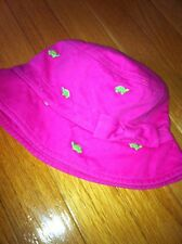 Gymboree Embroidered Pink Green Turtle Girls Bucket Beach Hat 12-24 Months Nwot