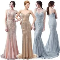 Luxury Long Formal Evening Women Dress Crystal Beaded Prom Pageant Mermaid Gowns