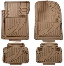 Modern Rubber Car Floor Mats Odorless Heavy Duty 4-Piece Set (Beige)