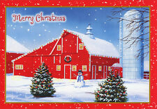 Red Barn and Silo on Farm - Box of 18 Christmas Cards by Designer Greetings