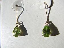 Peridot Pear Cut Dangle Earrings 10KT SOLID Yellow Gold