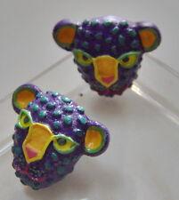 Wooden Purple Leopard with Green Spots Pierced Earrings
